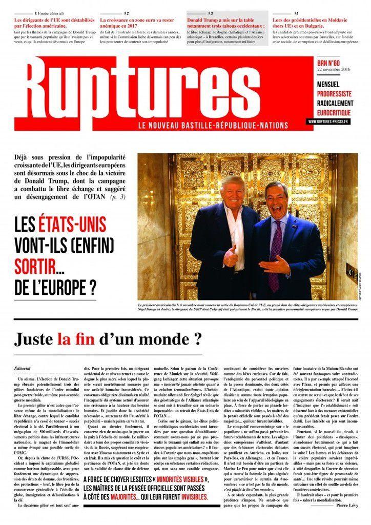 L'édition de novembre 2016 de RUPTURES est parue