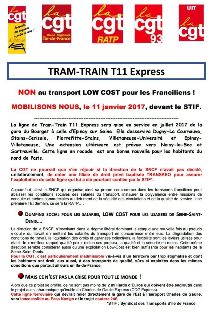 TRAM-TRAIN T11 EXPRESS: NON au transport LOW COST pour les Franciliens !