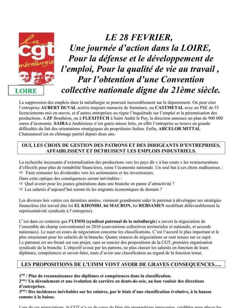 LOIRE : Journée d'ACTION le 28 février 2017 dans la MÉTALLURGIE (CGT FTM]
