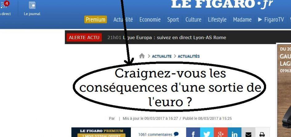 Quand « Le Figaro » change en urgence le titre d'un sondage sur l'euro…