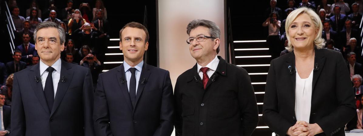 François Fillon, Emmnuel Macron, Jean-Luc Mélenchon et Marine Le Pen, lors du débat télévisé de TF1, le 20 mars 2017.  (REUTERS)