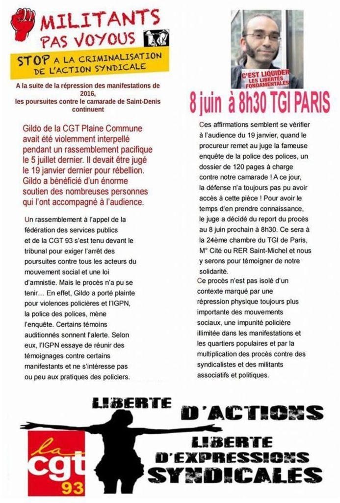 Halte à la RÉPRESSION du mouvement social ! RELAXE pour GILDO et tous les réprimés de la lutte contre la Loi Travail! Le 8 juin 2017 à 8 h30 devant le TGI de Paris ! [CGT 93]