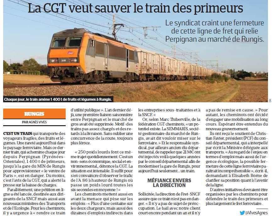 La CGT veut sauver le TRAIN des PRIMEURS