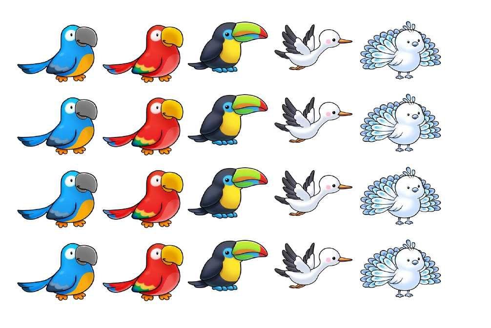 Gommettes oiseaux (3 planches différentes)