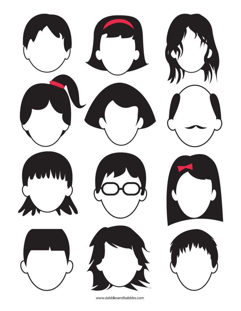 Dessins visages et cheveux (3 dessins différents à imprimer)