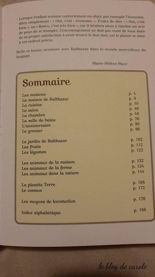 """Sommaire """"l'imagier de Balthazar"""""""