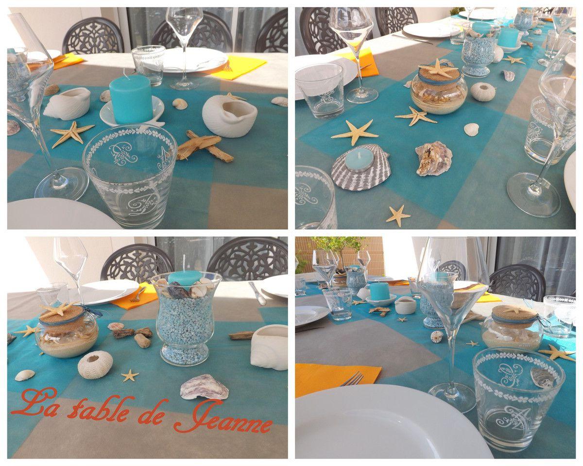 """Un décor """"bord de mer"""" en toute simplicité sur la table de la terrasse"""