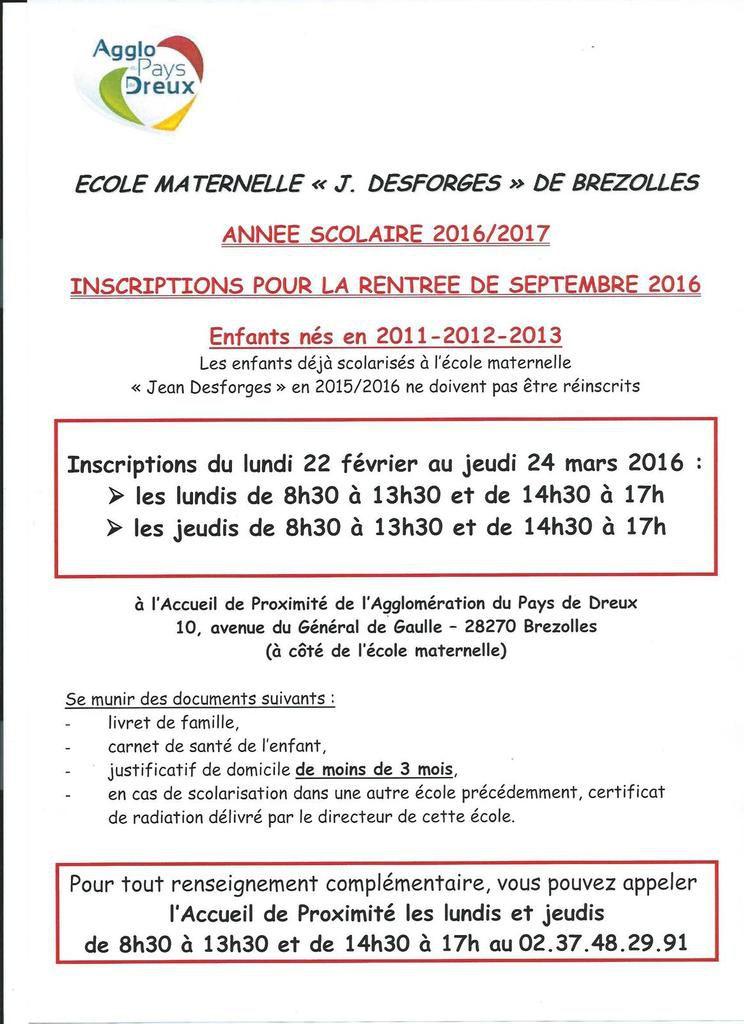 Inscriptions pour 2016/2017