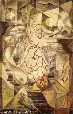 """""""Homme"""", huile sur toile, André Masson &#x3B; 1924."""