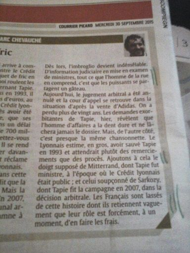 Edito Jean-marc CHEVAUCHE in Le Courrier picard, 2015&#x3B;