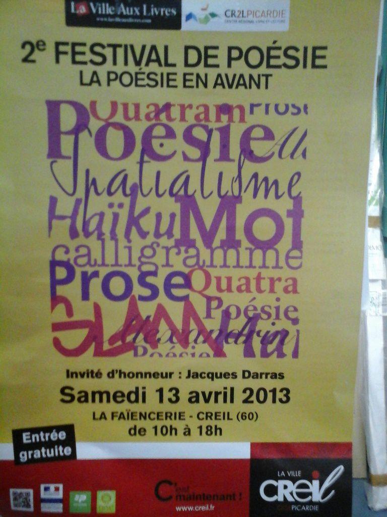 Bienvenue Jacques Darras, 2ème Festival de Poésie à Creil, avril 2014.