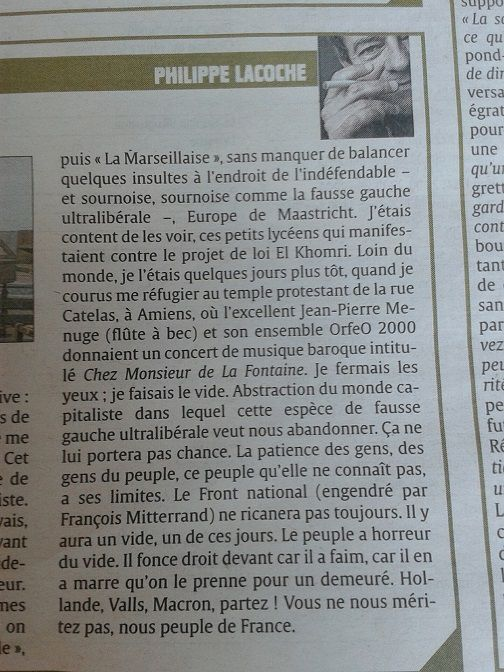 """Chronique """"Les Dessous chics"""" de Philippe Lacoche, dimanche 13 mars 2016 in Le Courrier picard."""