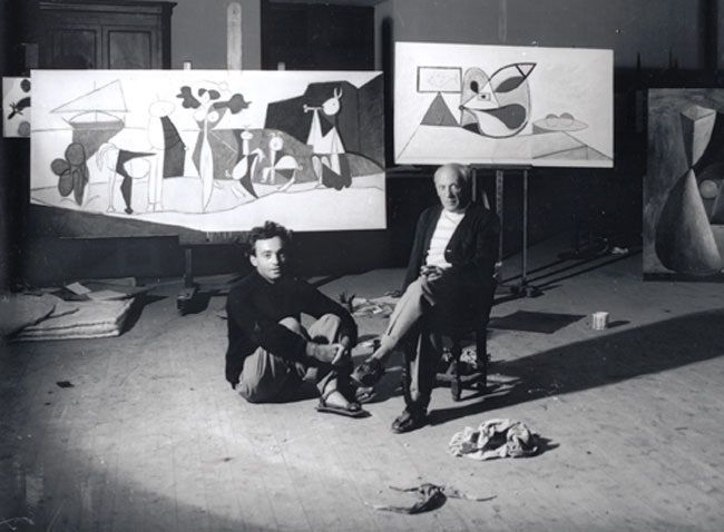 Michel Sima et Picasso (1946) Antibes, château Grimaldi