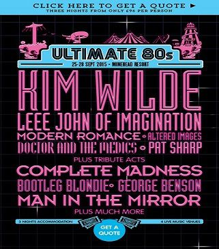 Butlins Music Week-End Minehead - Ultimate 80's avec Kim Wilde