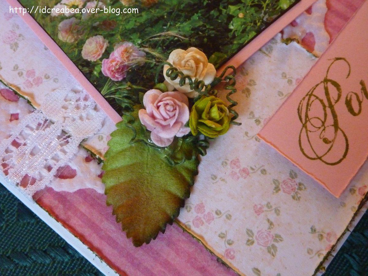 Carte shabby roses : défi septembre Style Shabby.