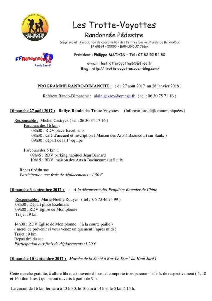 Programme Rando-Dimanche