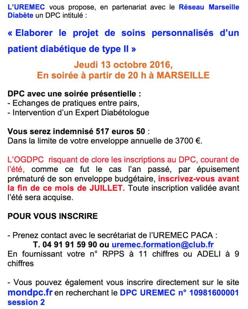 DPC « Elaborer le projet de soins personnalisés d'un patient diabétique de type II »
