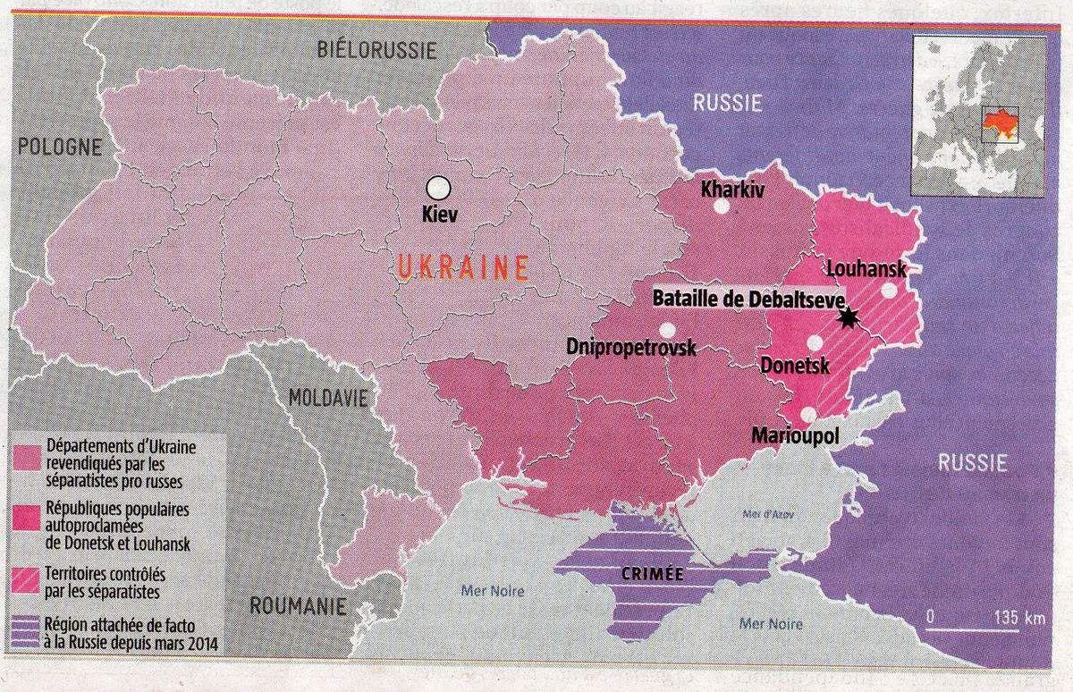 N.B. : Depuis la réalisation de cette carte, l'armée de Kiev a du fuir la ville stratégique de Debaltseve