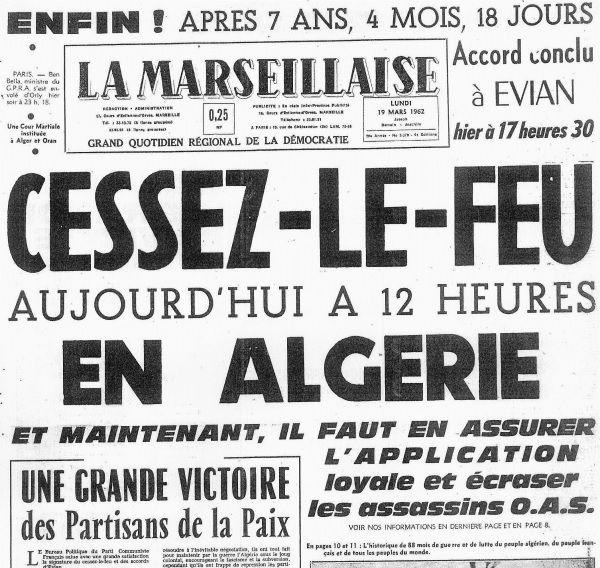 La une du 19 mars 1962 de la Marseillaise (c) Copyright Journal La Marseillaise