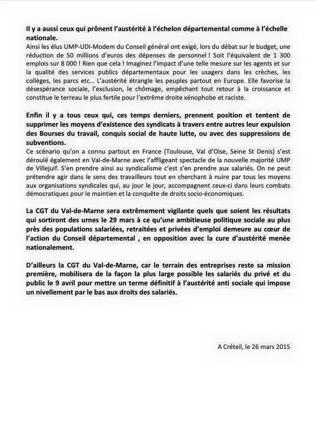 Le 29 mai 2015: Sanctionnons les ennemis des salariés  ! [CGT 94]