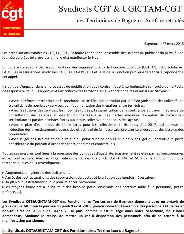 BAGNEUX (Hauts-de-Seine) : Grève et Manif au programme le 9 avril 2015 !
