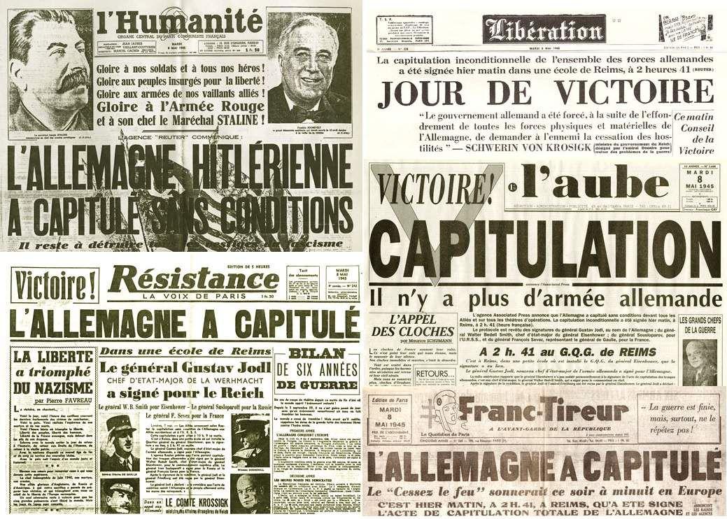 Les Unes de quelques quotidiens du 8 mai 1945