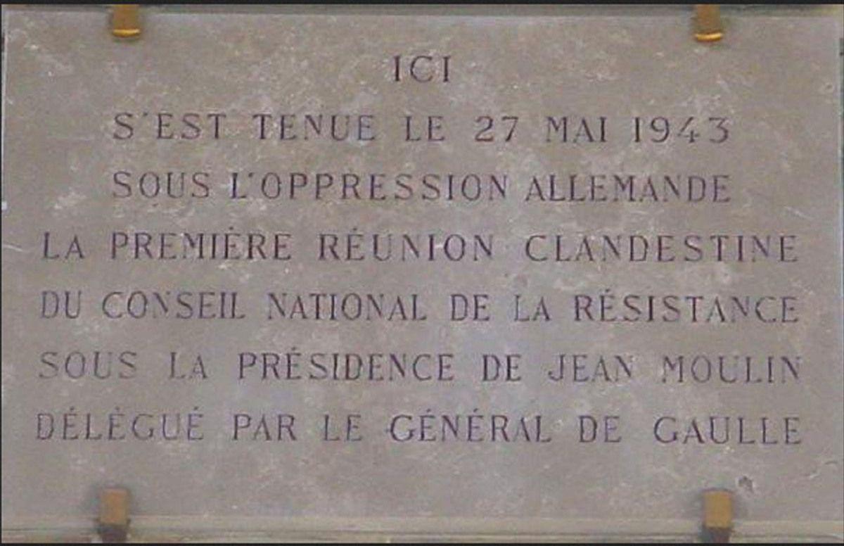 Plaque commémorant la première réunion du CNR, qui s'est tenu le vendredi 27 mai 1943 au 48 de la rue du Four (Paris 6ème)