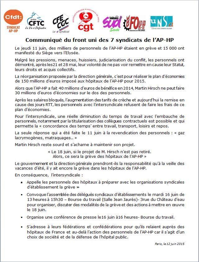 HÔPITAUX en LUTTE: Retrait du projet Hirsch ou grève le 18 juin 2015 (Communiqué de l'intersyndicale)