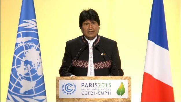 """COP21 : BOLIVIE, pour Evo MORALES """"avec le capitalisme, la vie sur la planète elle est vouée à disparaître"""""""