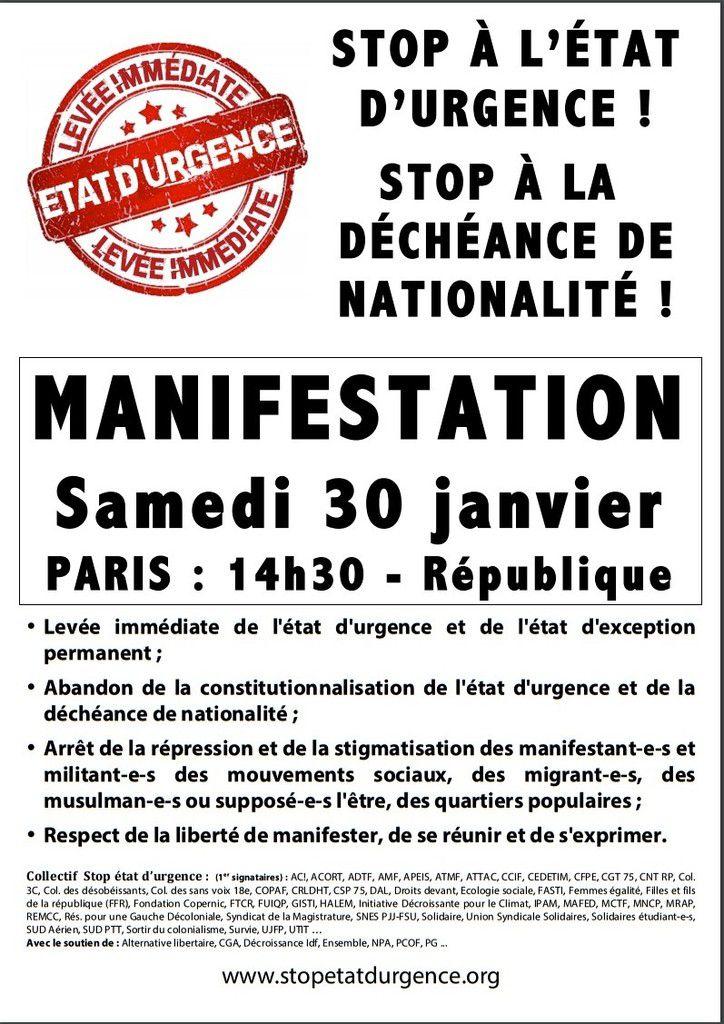 Samedi 30 janvier 2016 : MANIFESTATIONS contre l'ÉTAT d'URGENCE à PARIS et dans de nombreuses villes de FRANCE