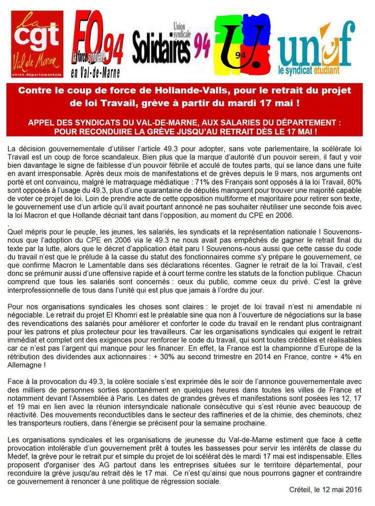 LOI TRAVAIL: sept syndicats appellent à des GRÈVES et MANIFESTATIONS les 17 et 19 mai 2016