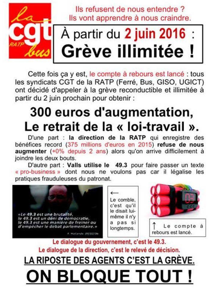 RATP: GRÈVE le 2 juin pour 300 euros d'AUGMENTATION et le RETRAIT de la loi travail