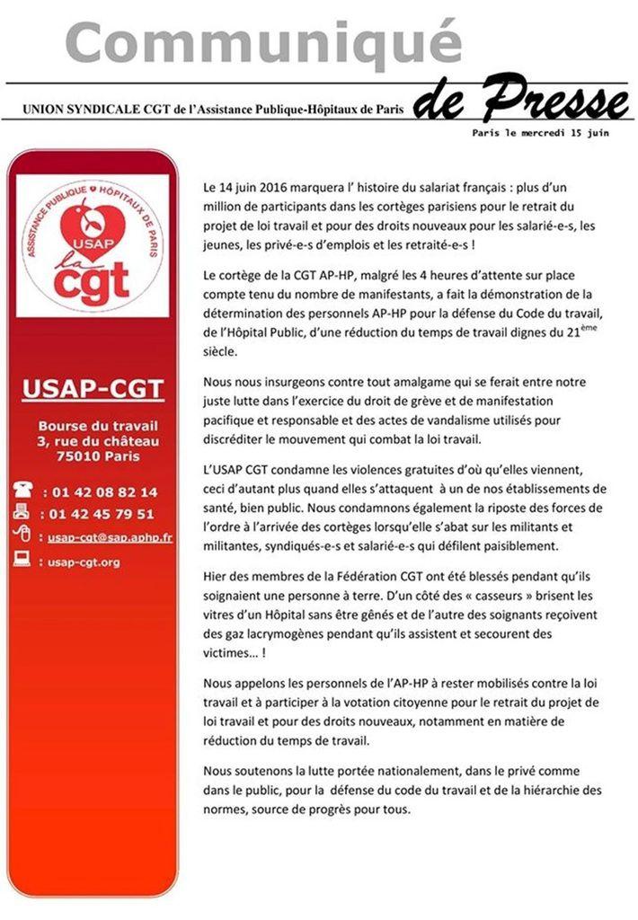Après la mobilisation du 14 juin : un communiqué de la CGT de l'AP-HP Hôpitaux de Paris