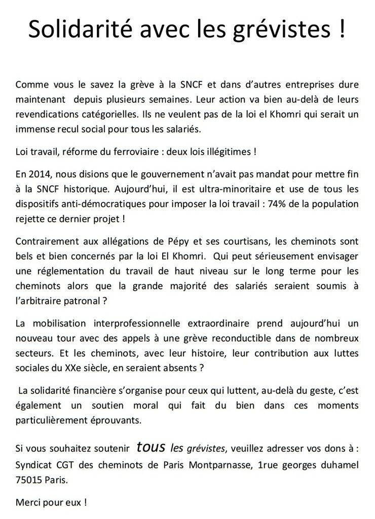 Les CHEMINOTS de Paris-Montparnasse toujours mobilisés- Appel à la GRÈVE le 23 Juin [ CGT - Sud Rail - FO]
