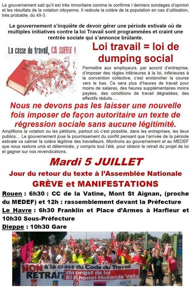 SEINE-MARITIME: Contre la loi travail on manifeste mardi 5 juillet 2016 à Rouen, au Havre et à Dieppe