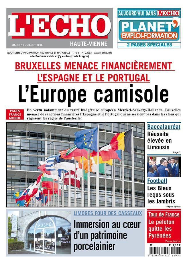 la Une du 12 juillet 2016 du quotidien L'ECHO publié dans le Limousin, en Dordogne et dans l'Indre