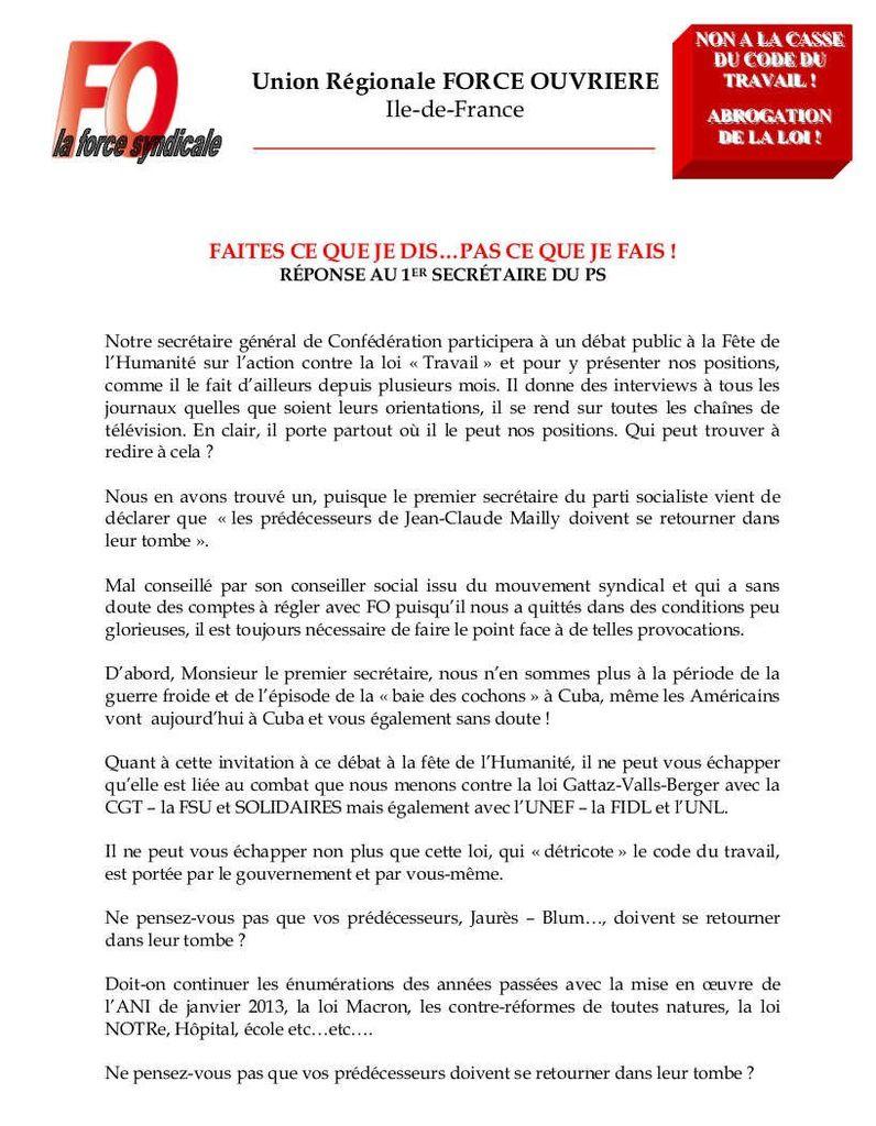 A propos de la venue de Jean-Claude Mailly à la fête de l'Humanité, LA RÉPONSE cinglante de FO Ile-de-France au premier secrétaire du PS
