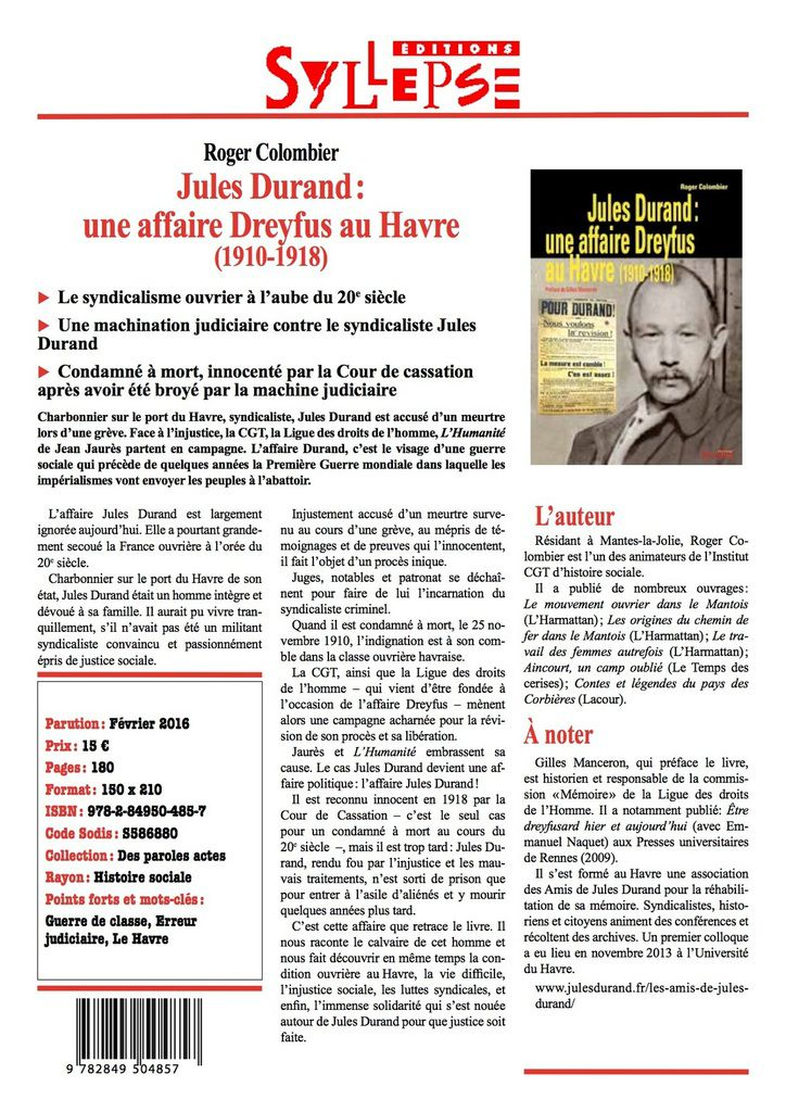 """Souscription pour le livre """" les Docks assassinés - l'Affaire Jules Durand"""" [ IHS CGT Seine-Maritime]"""