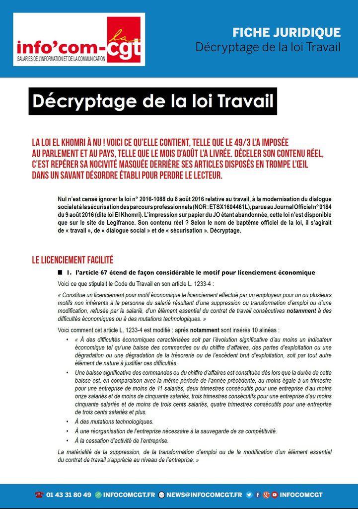 Le DÉCRYPTAGE juridique de la LOI TRAVAIL