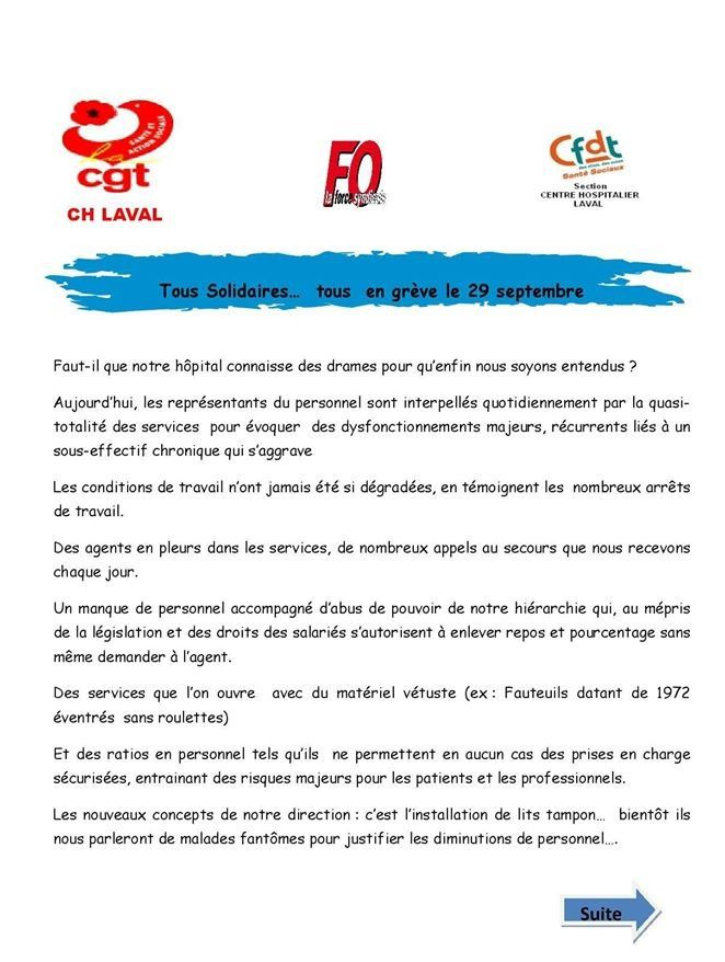 LAVAL (Mayenne) : Le personnel du Centre Hospitalier en grève pour défendre l'hôpital public