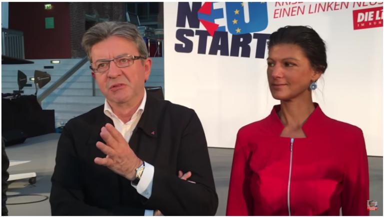 Jean-Luc Mélenchon à Berlin, en compagnie de Sarah Wagenknecht, présidente du groupe « Die Linke » au Bundestag