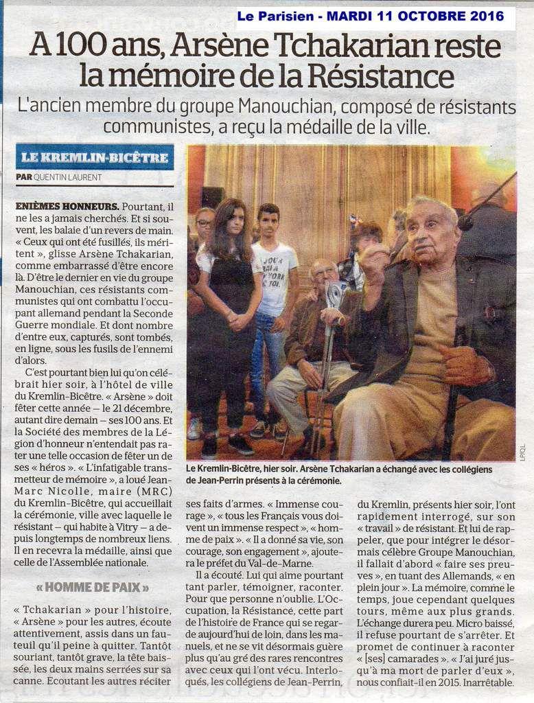 Article paru dans Le Parisien -édition Val de Marne - Mardi 11 octobre 2016