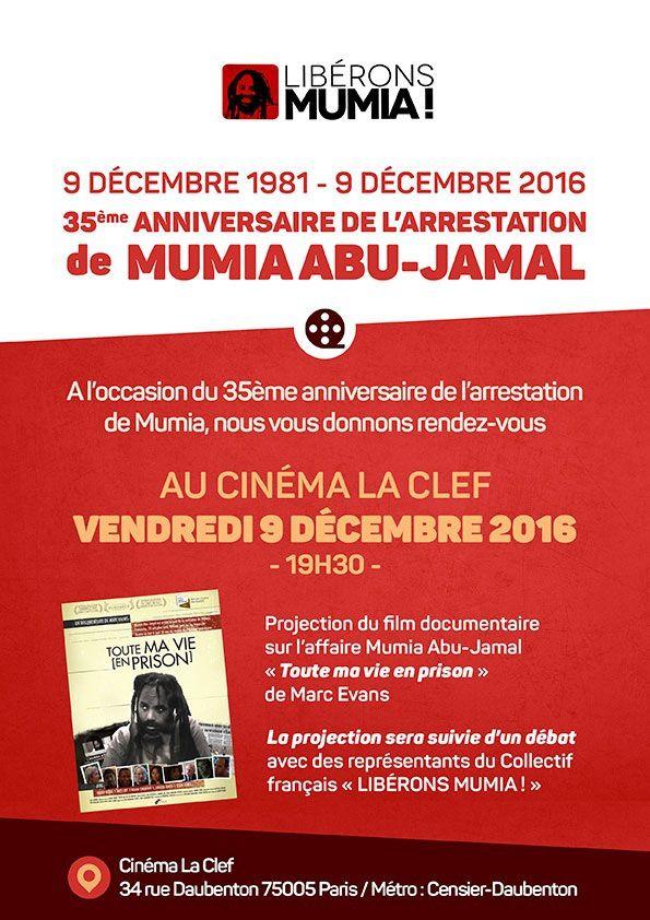 MUMIA : 35ème anniversaire de son arrestation ... Rendez-vous au cinéma &quot&#x3B;La Clef&quot&#x3B; à Paris, vendredi 9 décembre 2016