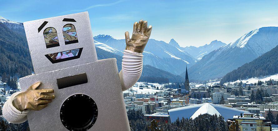 Les Robots pour le revenu de base « Le robot dansant au Forum économique mondial de Davos le 21 janvier 2016 ». Campagne du mouvement suisse Generation Grundeinkom (« Génération revenu de base »).