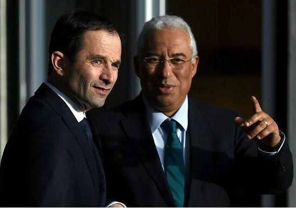 Benoît Hamon avec le premier ministre portugais, Antonio Costa (source photo: Libération)