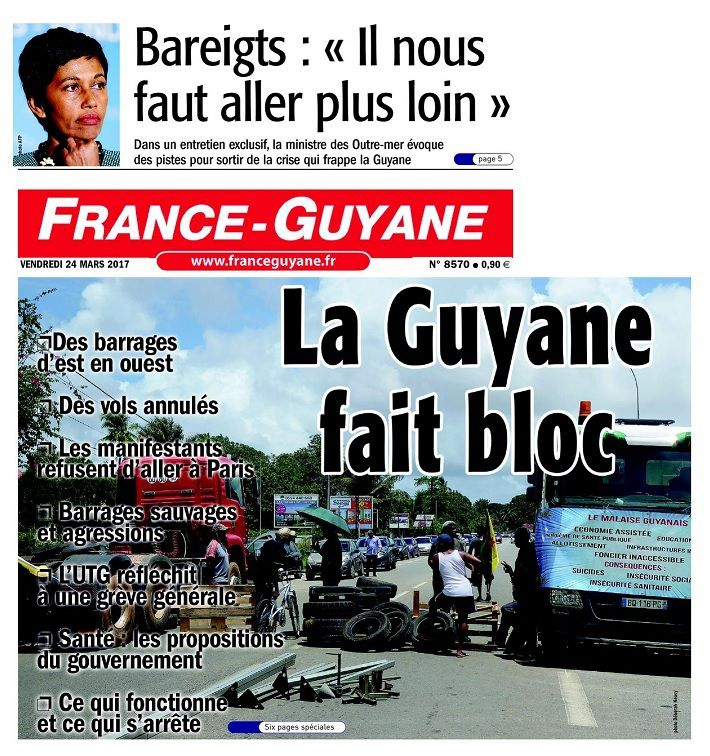 "La une d'un journal local ""France-Guyane"""