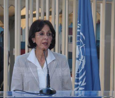 Mme Rima Khalaf, secrétaire exécutive de la CESAO (Commission économique et sociale pour l'Asie de l'Ouest) démissionnaire