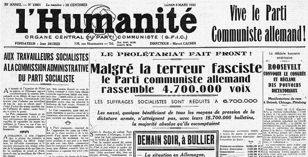 """La Une de """"L'Humanité"""" du 6 mars 1933"""