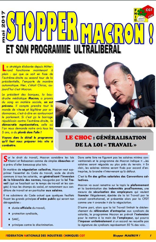STOPPER MACRON ! Et son programme ultralibéral  [Document CGT-FNIC]