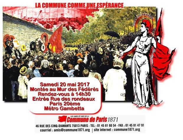 La COMMUNE de PARIS comme une ESPÉRANCE -  Montée au Mur des Fédérés : samedi 20 mai 2017 - 14h30